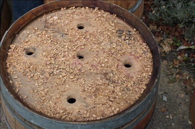 Drilling Drainage Holes in Half Wine Barrel Planter