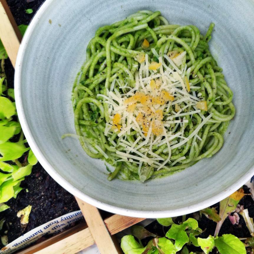 Nasturtium Pesto with Preserved Lemon | Hitchhiking to Heaven