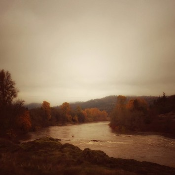 The pretty Umpqua river today  cool and gray