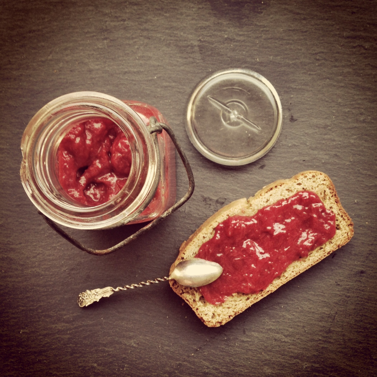 Tiny jam: strawberry, rhubarb, lime & a touch of honey