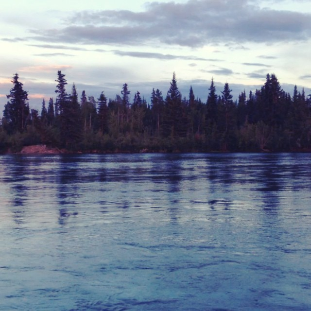 Watching the fast river at 11PM last night #midnightsun