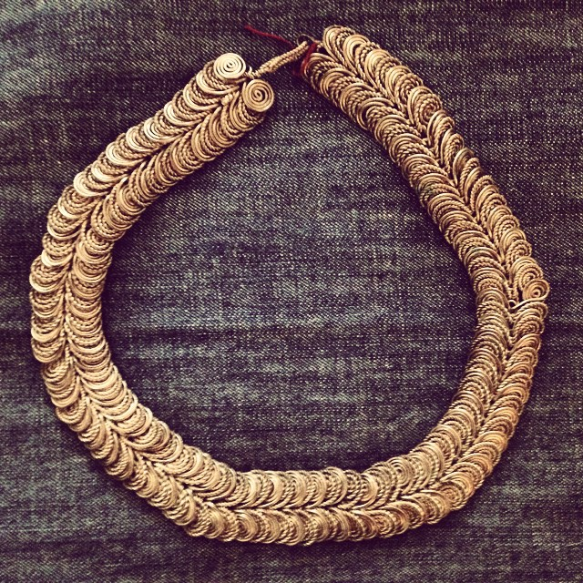 Santa Fe splurge. Vintage silver necklace made of hundreds of hand-worked spirals. Super heavy, so wonderful!