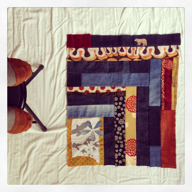 First of four #quilt panels #handstitched & experimenting with best way to photograph (this isn't it!)