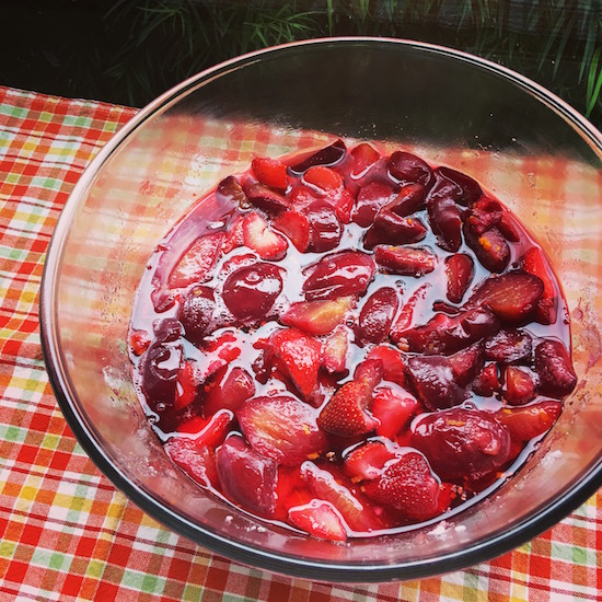 Plums and Strawberries Macerating for Jam   Hitchhiking to Heaven